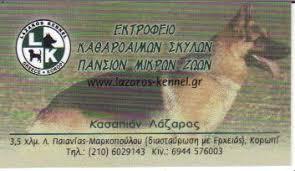 LAZAROS KENNEL ΕΚΤΡΟΦΕΙΟ ΚΑΘΑΡΟΑΙΜΩΝ ΣΚΥΛΩΝ ΠΑΝΣΙΟΝ ΚΟΡΩΠΙ ΚΑΣΣΑΠΙΑΝ ΛΑΖΑΡΟΣ